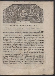 Gazeta Warszawska. R. 1780 Nr 33