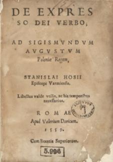 De Expresso Dei Verbo, Libellus, His Temporibus accomodatissimus Ab authore recens auctus et recognitus