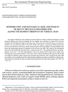 Distribution and ecological risk assessment of heavy metals in roadside soil along the Hemat Highway of Tehran, Iran