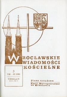 Wrocławskie Wiadomości Kościelne. R. 44 (1991), nr 3
