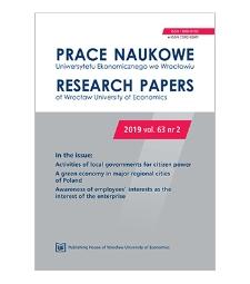 Spis treści [Prace Naukowe Uniwersytetu Ekonomicznego we Wrocławiu = Research Papers of Wrocław University of Economics; 2019; vol. 63, nr 2]