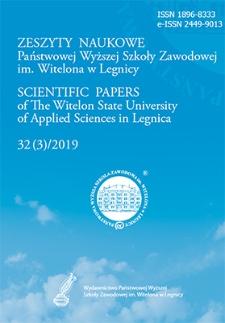 Zeszyty Naukowe Państwowej Wyższej Szkoły Zawodowej im. Witelona w Legnicy, nr 32 (3)/2019