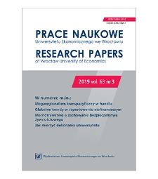 Spis treści [Prace Naukowe Uniwersytetu Ekonomicznego we Wrocławiu = Research Papers of Wrocław University of Economics; 2019; vol. 63, nr 3]