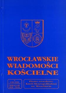 Wrocławskie Wiadomości Kościelne. R. 49 (1996), nr 1