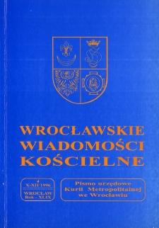 Wrocławskie Wiadomości Kościelne. R. 49 (1996), nr 4