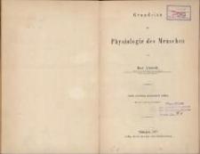 Grundriss der Physiologie des Menschen. - 5. vollst. umgearb. Aufl.