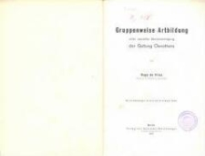 Gruppenweise Artbildung unter spezieller Berücksichtigung der Gattung Oenothera