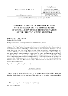 """Stability analysis of security pillars with dimension 10 x 10 m fromed by ore of mineral body during the exploitation of the """"Trepça"""" mine in Stantërg"""