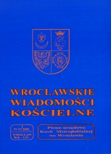 Wrocławskie Wiadomości Kościelne. R. 61 (2008), nr 2