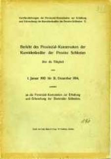 Bericht des Provinzial- Konservators der Kunstdenkmäler der Provinz Schlesien über die Tätigkeit vom 1. Januar 1913 bis 31. Dezember 1914