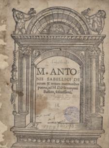M[arci] Antonii Sabellici De rerum et artium inventoribus poema [...]