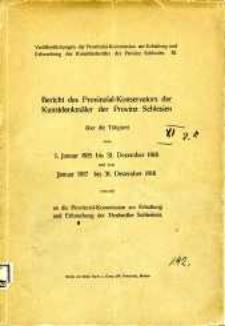 Bericht des Provinzial- Konservators der Kunstdenkmäler der Provinz Schlesien über die Tätigkeit vom 1. Januar 1915 bis 31. Dezember 1916 und vom Januar 1917 bis 31. Dezember 1918