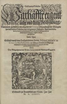 Dess Landes Schlesien Warhaffte eigentliche und kurtze Berschreinbug [...]. 2 Tl.