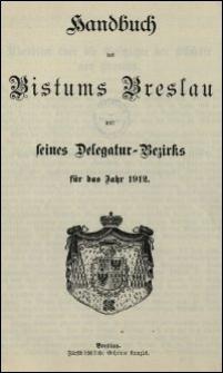 Handbuch des Bistums Breslau und seines Delegatur-Bezirks für das Jahr 1912
