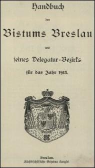 Handbuch des Bistums Breslau und seines Delegatur-Bezirks für das Jahr 1913
