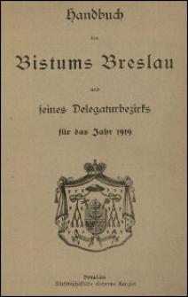 Handbuch des Bistums Breslau und seines Delegaturbezirks für das Jahr 1919
