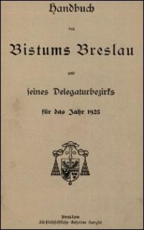 Handbuch des Bistums Breslau und seines Delegaturbezirks für das Jahr 1925