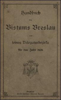 Handbuch des Bistums Breslau und seines Delegaturbezirks für das Jahr 1926