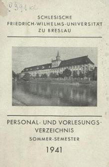 Personal- und Vorlesungs-Verzeichnis : Sommer-Semester 1941